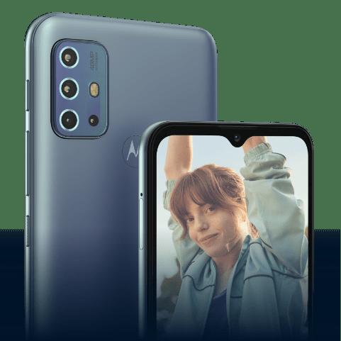 Câmera traseira do smartphone g60, com sensor de 108 MP. A imagem também demonstra os detalhes da câmera e do design do celular.