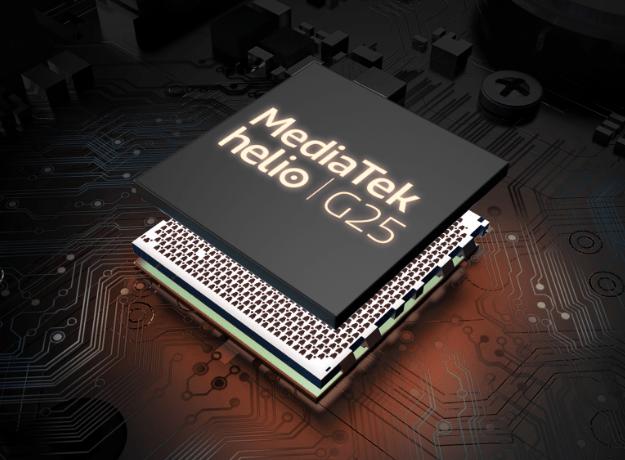 Imagem do processador MTK G25 octa-core de 2,0 GHz do Smartphone Moto E7 Power, no fundo há componentes se conectando, simbolizando rapidez e super responsividade.
